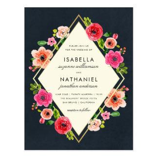 Elegante Goldrahmen-Hochzeit der Postkarte