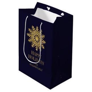 Elegante Goldschneeflocke-Feriengeschenk-Tasche Mittlere Geschenktüte