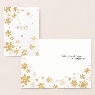 Elegante Goldschneeflocke-Weihnachtskarte Folienkarte
