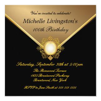 Elegante Goldschwarz-Damen-Party Einladungen