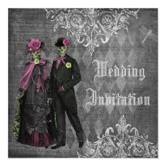 Elegante gotische Wedding Braut-u. Quadratische 13,3 Cm Einladungskarte