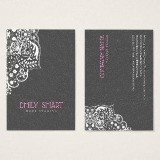 Elegante graue Damast-Weiß-Spitze Visitenkarte