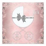 Elegante graue rosa Spitze-Baby-Dusche Individuelle Einladung