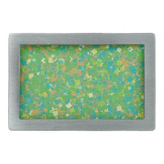 Elegante grüne Confetti SCHABLONE addieren Rechteckige Gürtelschnalle