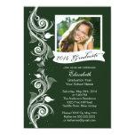 Elegante grüne Foto-Abschluss-Party Einladung