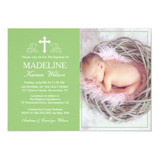 Elegante grüne Taufe-Foto-Einladungs-Karte 12,7 X 17,8 Cm Einladungskarte