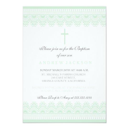 Elegante Grüne Taufe Taufeinladung Einladung Zazzlede