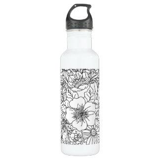 Elegante Hand gezeichneter Blumengekritzelentwurf Trinkflasche