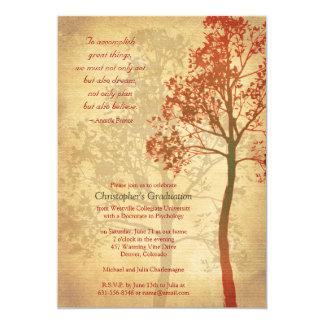 Elegante Herbst-Baum-Abschluss-Einladung Karte
