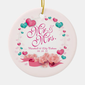 Elegante Herr-u. Frau-Candy Hearts | Verzierung Keramik Ornament