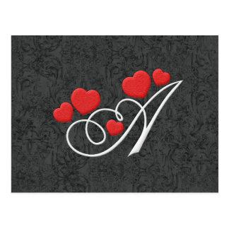 Elegante Herzen beschriften A Postkarte