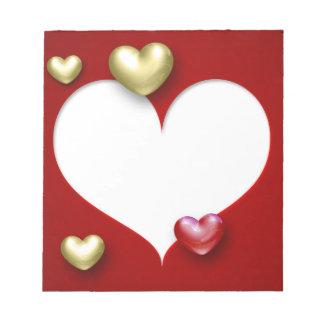 Elegante Herzen des Valentinsgruß-3D - Notizblock