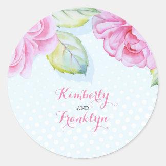 elegante Hochzeit des rosa mit BlumenAquarells Runder Aufkleber