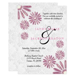 Elegante Hochzeit mit rosa Blumeneinladung 12,7 X 17,8 Cm Einladungskarte