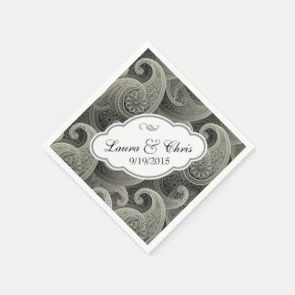 Elegante Hochzeit Platin-Paisleys personalisiert Papierservietten
