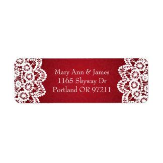 Elegante Hochzeits-Adressen-Vintages Spitze-Rot Rücksende Aufkleber