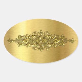 Elegante Hochzeits-Aufkleber, Gold Ovaler Aufkleber