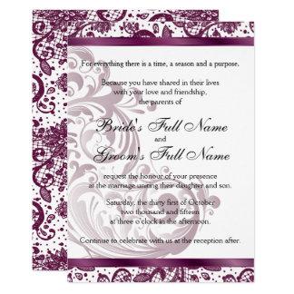 Elegante Hochzeits-Einladung - lila 12x18 Karte