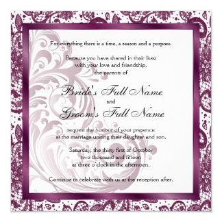Elegante Hochzeits-Einladung - lila Karte