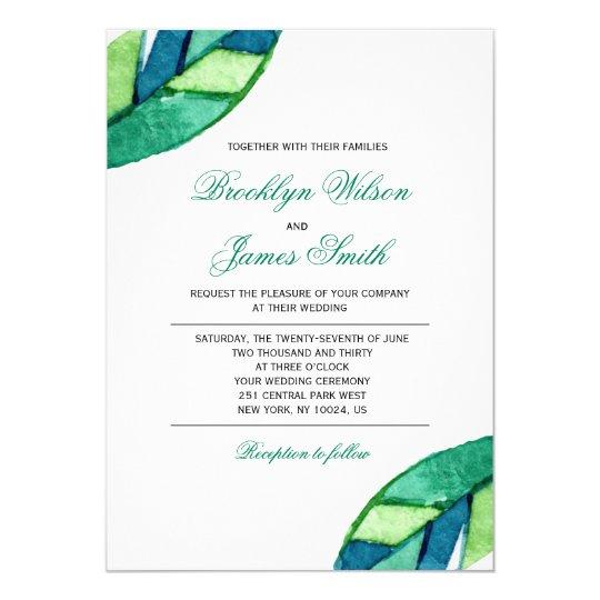 Elegante Hochzeits-Einladungen mit tropischem Karte