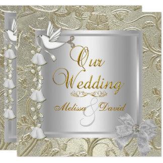 Elegante Hochzeits-Goldsilber-Weiß-Taube Karte