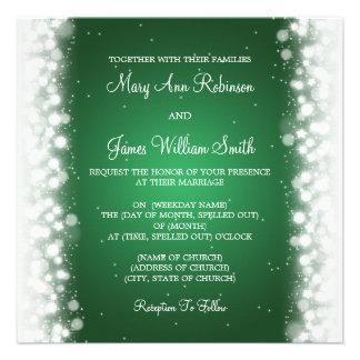 Elegante Hochzeits-magisches Schein-Grün Individuelle Ankündigungskarte