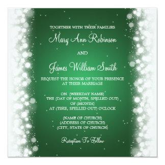 Elegante Hochzeits-magisches Schein-Grün Quadratische 13,3 Cm Einladungskarte