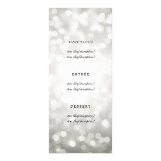 Elegante Hochzeits-Menü-Silber-Glitter-Lichter 10,2 X 23,5 Cm Einladungskarte