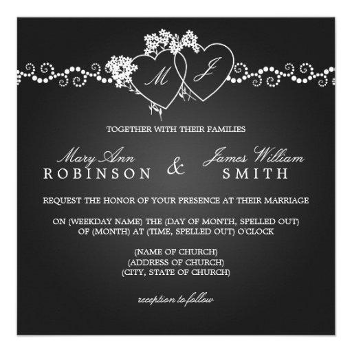 Elegante Hochzeits-mit Monogramm Herz-Schwarzes Ankündigungskarte
