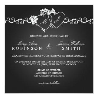 Elegante Hochzeits-mit Monogramm Herz-Schwarzes Quadratische 13,3 Cm Einladungskarte