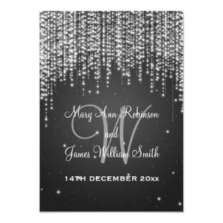 Elegante Hochzeits-Nacht blenden Schwarzes Personalisierte Ankündigungskarte