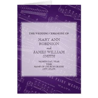 Elegante Hochzeits-Programm-Blatt-Musik lila Grußkarte