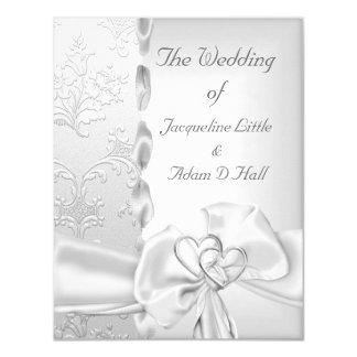 Elegante Hochzeits-silberne weiße Bogen-mit Karte