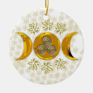 Elegante Imitat-Golddreiergruppen-Mond-Dreifache Rundes Keramik Ornament