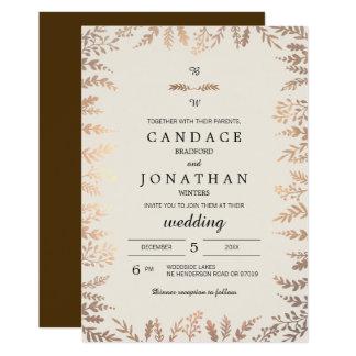Elegante Imitat-Goldlaub-Hochzeit Karte