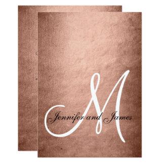 Elegante Imitat-Rosen-Goldmonogramm-Hochzeit 12,7 X 17,8 Cm Einladungskarte