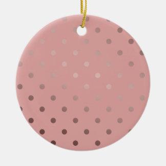elegante Imitat-Rosengoldrosa-Polkapunkte Rundes Keramik Ornament