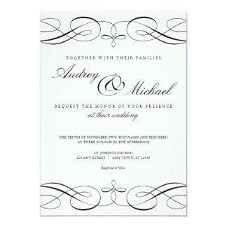 Elegante Kalligraphie-Schwarzweiss-Hochzeit laden Karte