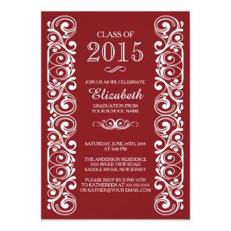 Elegante kastanienbraune weiße Abschluss-Party Karte