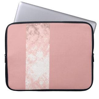 elegante klare Imitat-Rosengoldrosastreifen Laptopschutzhülle