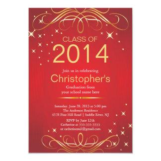 Elegante klassische GoldAbschluss-Party Einladung 12,7 X 17,8 Cm Einladungskarte