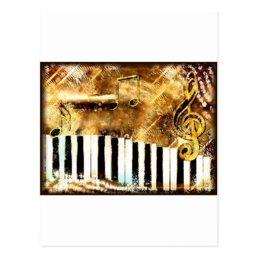 Elegante Klavier-Musik u. Anmerkungen Postkarte