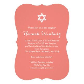 Elegante korallenrote Schläger Mitzvah Einladung