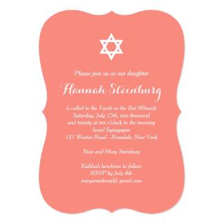Elegante korallenrote Schläger Mitzvah Einladung 12,7 X 17,8 Cm Einladungskarte