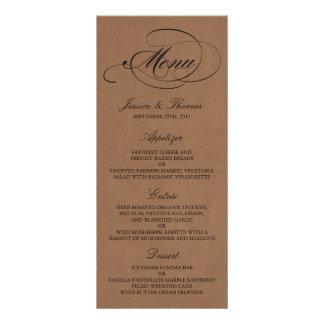 Elegante Kraftpapier-Hochzeits-Menü-Vorlagen Vollfarbige Werbekarte