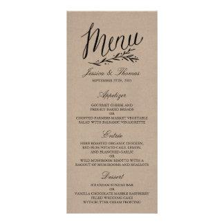 Elegante Kraftpapier-Hochzeits-Menü-Vorlagen Werbekarte