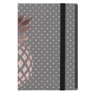 elegante Küken-Rosengoldananas-Polkapunkte iPad Mini Etui
