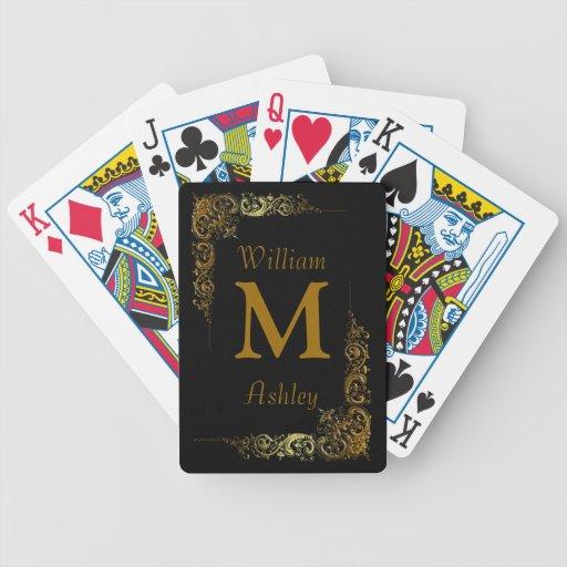Elegante kundengebundene mit Monogramm Spielkarten
