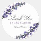 Elegante Lavendel-Hochzeits-Aufkleber Runder Aufkleber