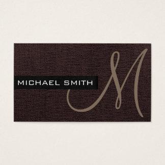 Elegante Leinwand Monogramm-dunkle Browns Visitenkarte